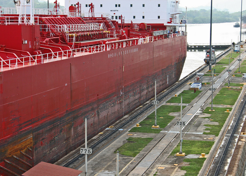 Another ship going through the locks next to us