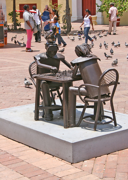 Claver Plaza - These sculptures depict the everyday life of modern residents in the Old City.