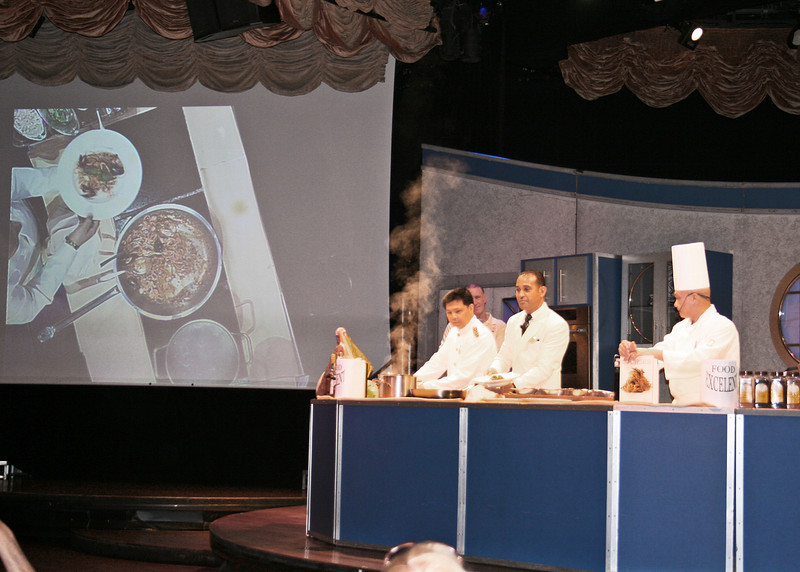 They gave cooking demonstrations by the ship's cook