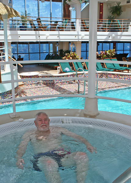 Mike in the hot tub of the adult area where we spent most of our time.  It is climate controlled and has a swimming pool and 2 hots tubs plus lots of very comfortable lounges.