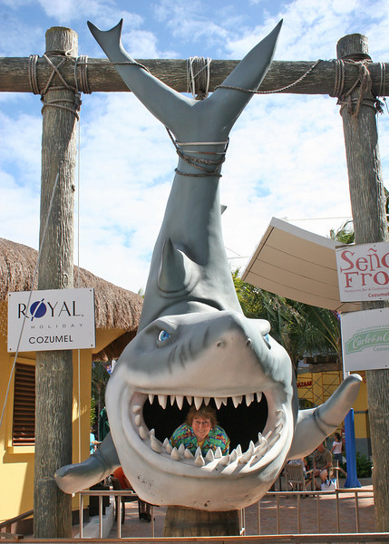 12/14/10 - Susan in shark's mouth, Cozumel. Mexico