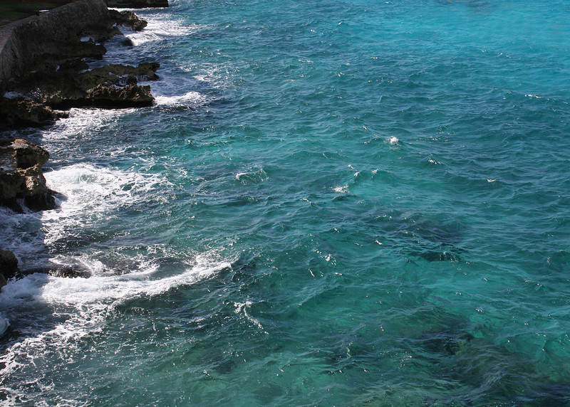 12/1412/14/10 - The ocean was gorgeous.  Look at the clear turquoise water as it crashes against the rocks. Cozumel. Mexico