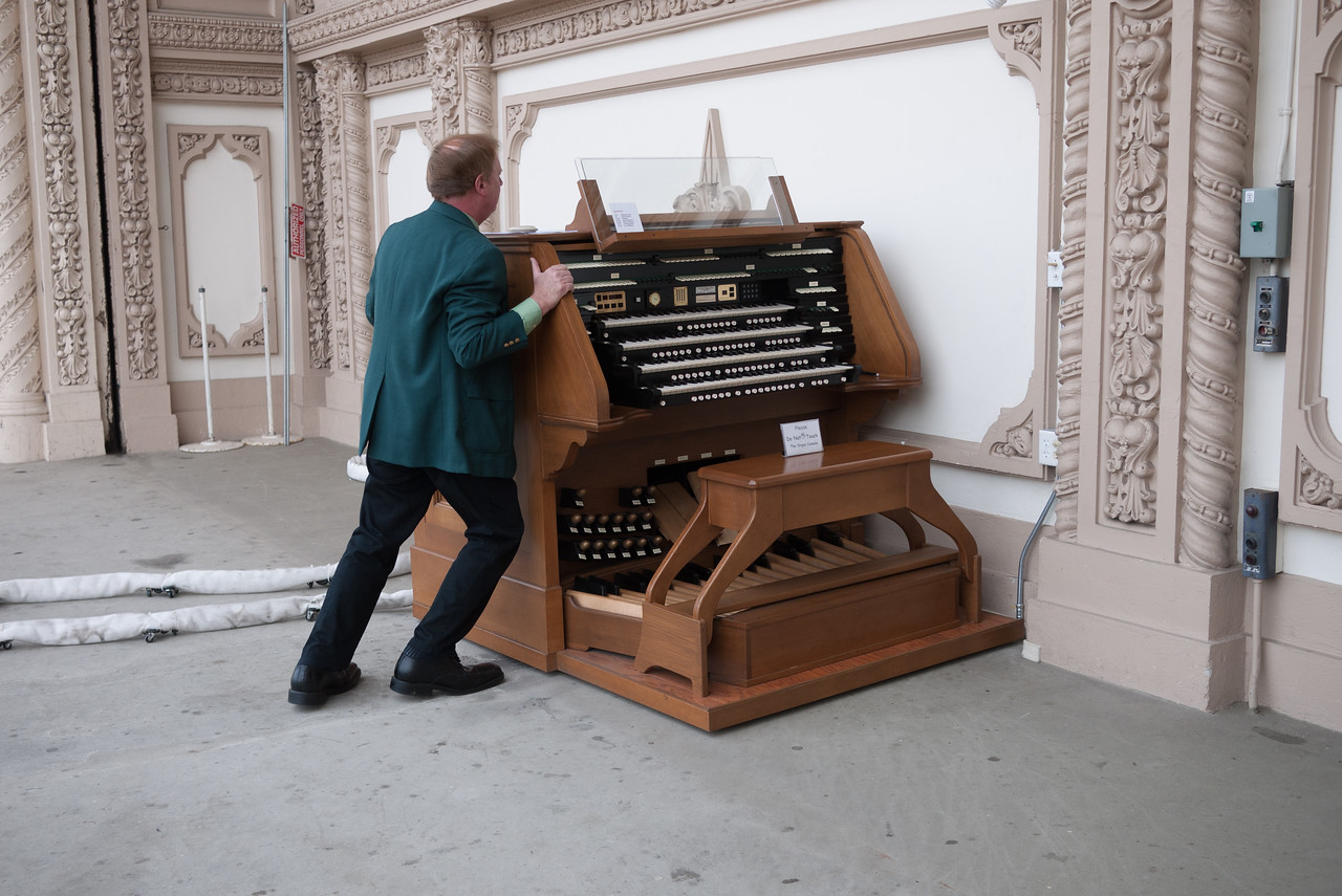 Like a hovercraft, The organ rides on a cushion of air when it's moved into and out of it's playing position.