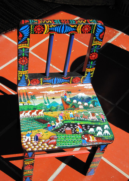 The crafts are beautiful.  This is a little chair that was so colorfully decorated.