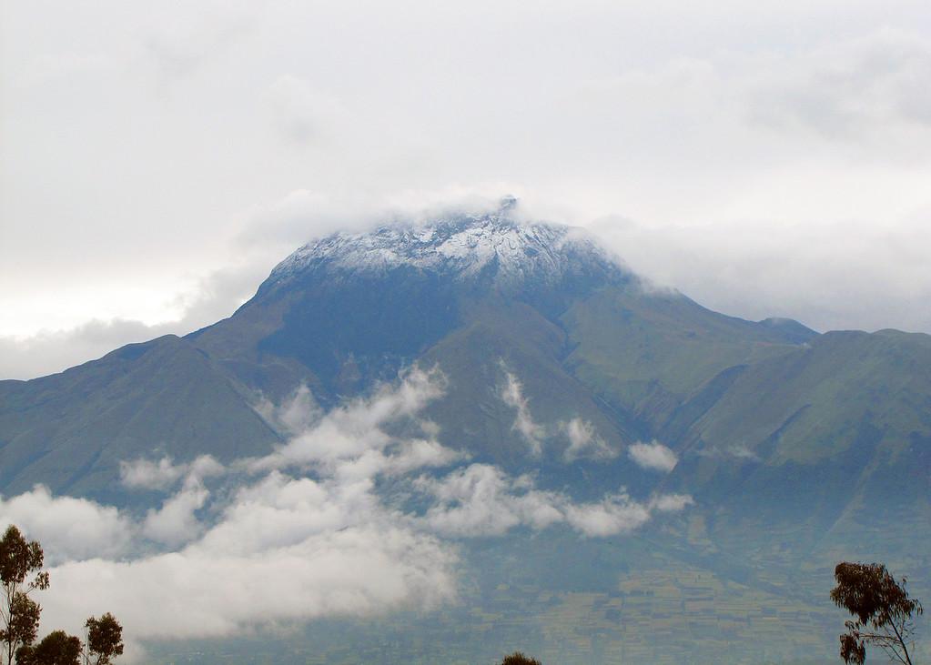 The last night we were in Otavalo it rained so we woke up to snow on volcano Imbabura.