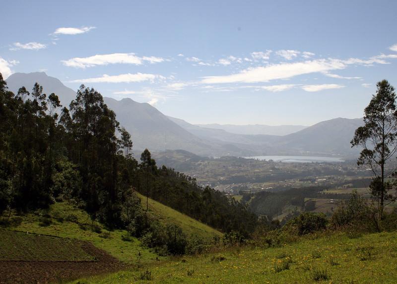 The volcano Imbabura on left and Lago San Pablo on right.