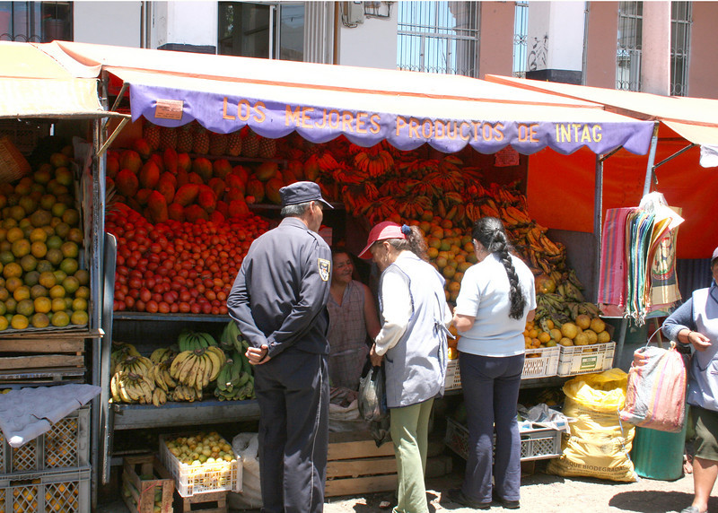 A fruit and vegetable stall.