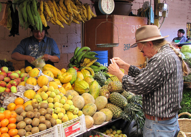 Frank buying fruit and vegetables for for our meals.