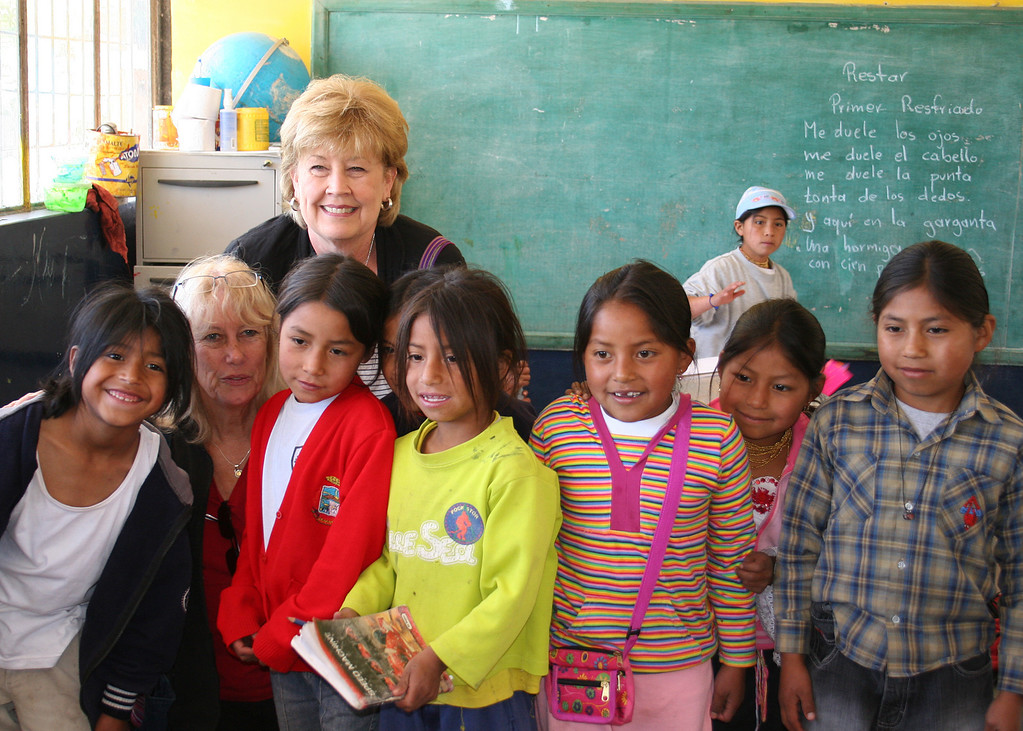 Jacqie and Linda, ladies who went to Ecuador to donate items to the school, with some of the students