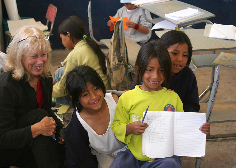 Jacqie, a lady who went to Ecuador to donate items to the school, with some of the students