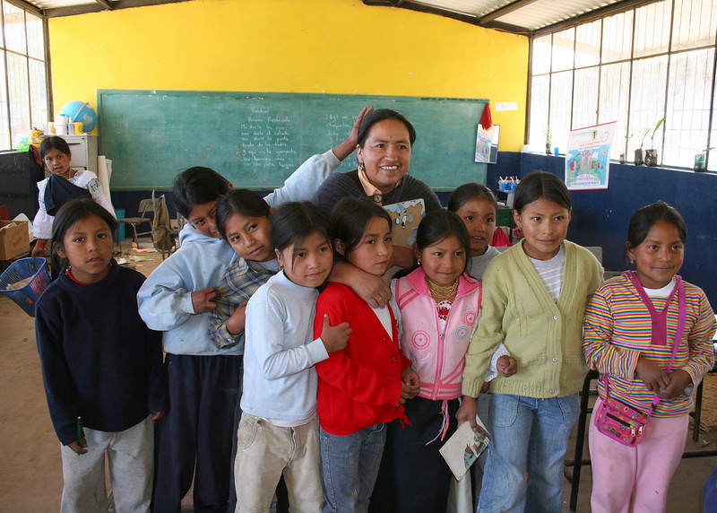 Teacher with some of her students