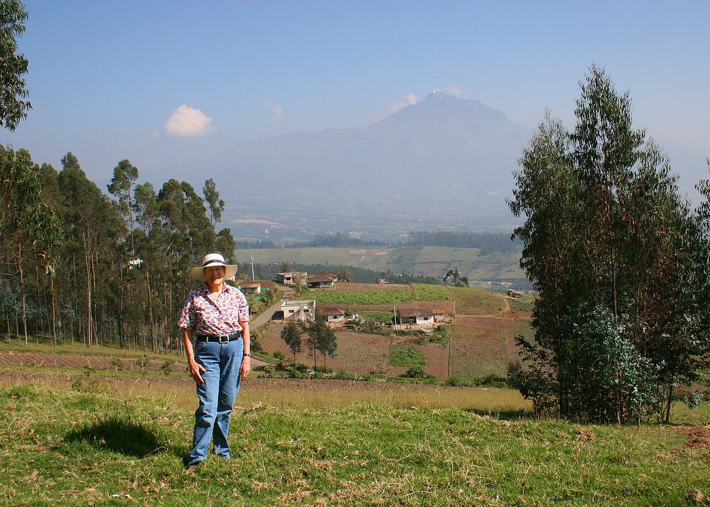 Susan with the volcano Cotacachi behind her.