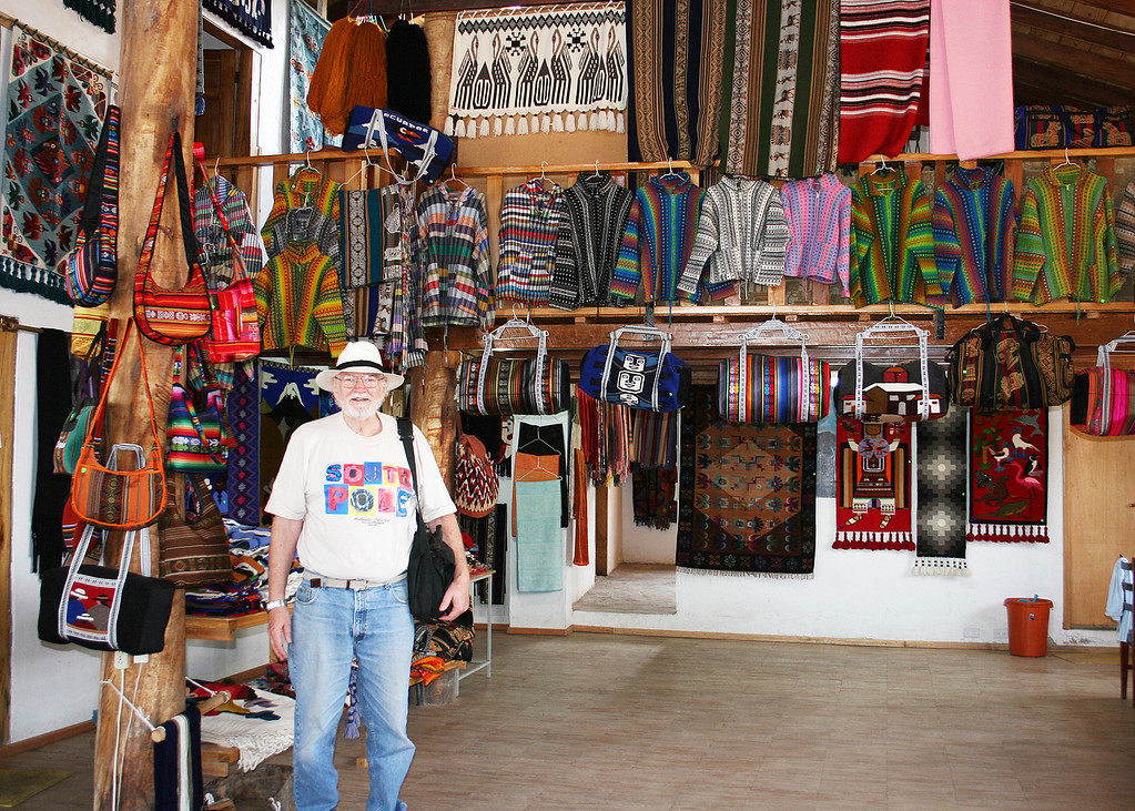 """Mike inside Jose Cotacachi's showroom.  If you would like to see more, here is a link:  <a href=""""http://www.josecotacachi.com/aboutus.html"""">http://www.josecotacachi.com/aboutus.html</a>"""