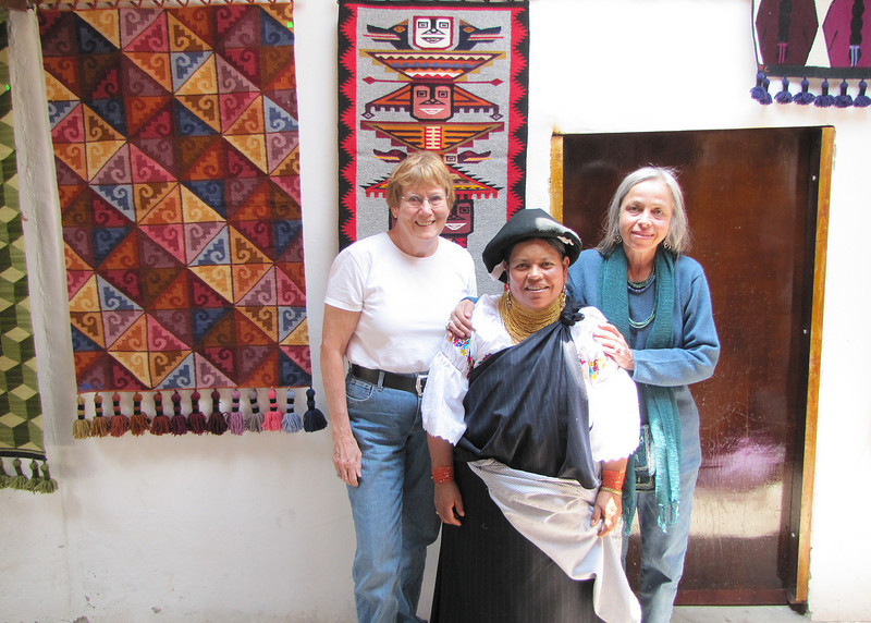 Here is Susan with Jose Cotacachi's wife in the middle and Margarita