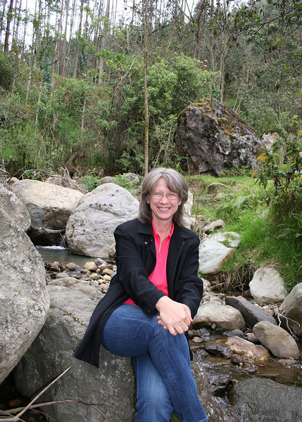 Here is Karen at the stream by their old property