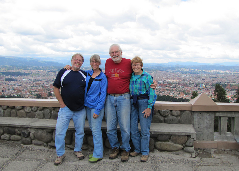 Tom and Karen and Mike and Susan at Turi, overlooking Cuenca.