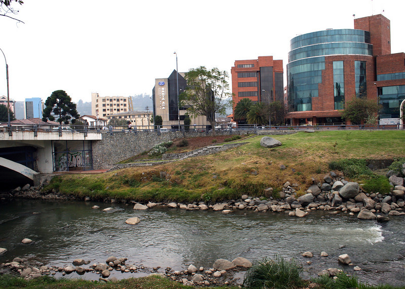 The Rio Tomebamba with a view of the newer section of Cuenca across the river