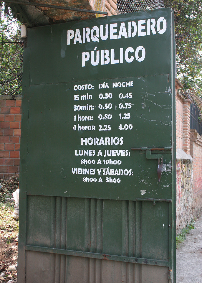 Sign for the parking lot