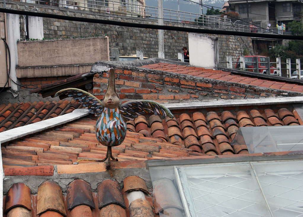 This is just a crazy figure on one of the roofs on our walk