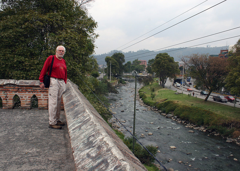 Mike at the end of El Puente Roto.  The bridge used to cross the Tomebamba until it was destroyed in a storm.  It now ends where Mike is standing.