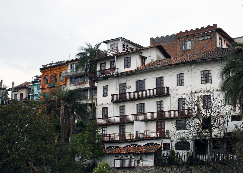 Buildings along the Rio Tomebamba in Old Town Cuenca