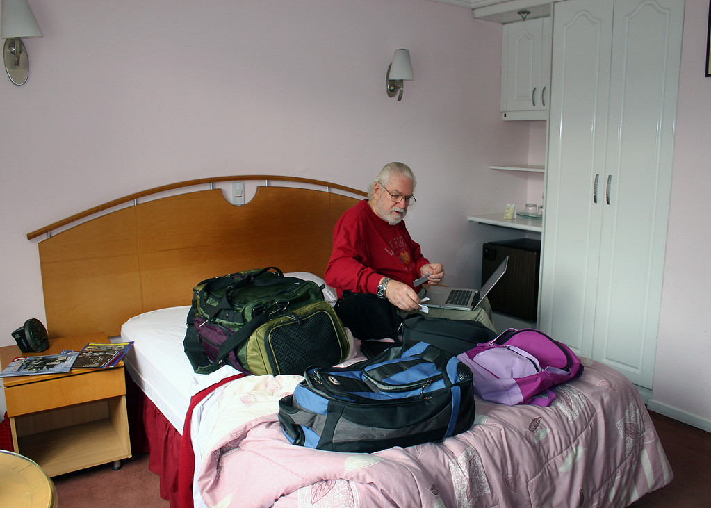 Here is Mike in our room getting ready to head to Otavalo.