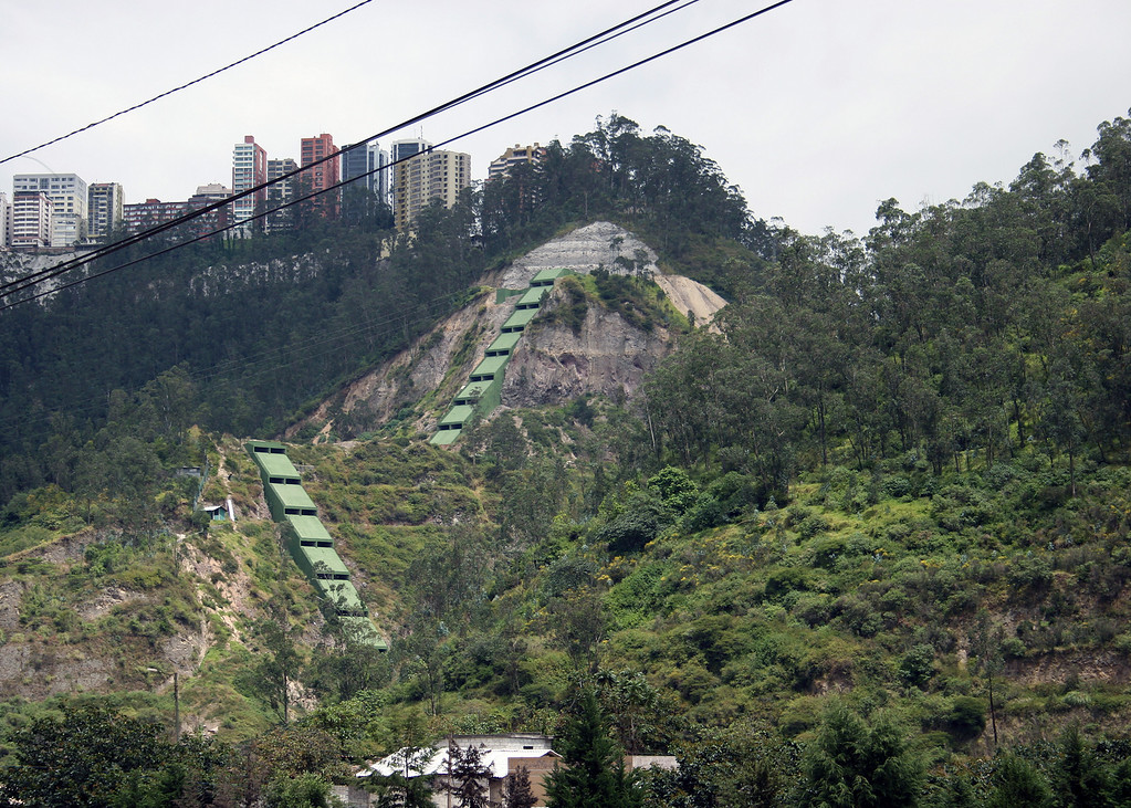 Part of Quito from the road as we head towards Otavalo.  I never did find out what those green things going down the hill are for.