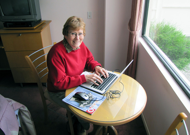 Here is Susan picking up email before starting our day.