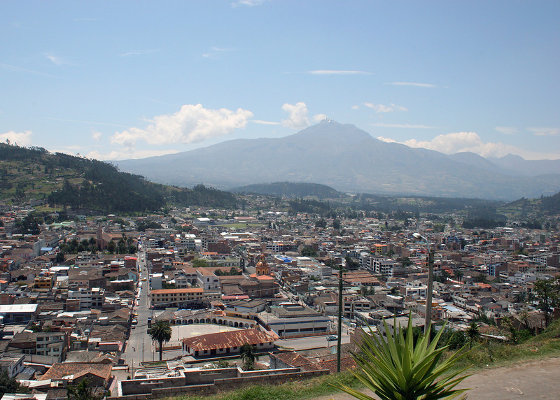 Overlooking the city of Otavalo with the volcano Imbabura in the background.