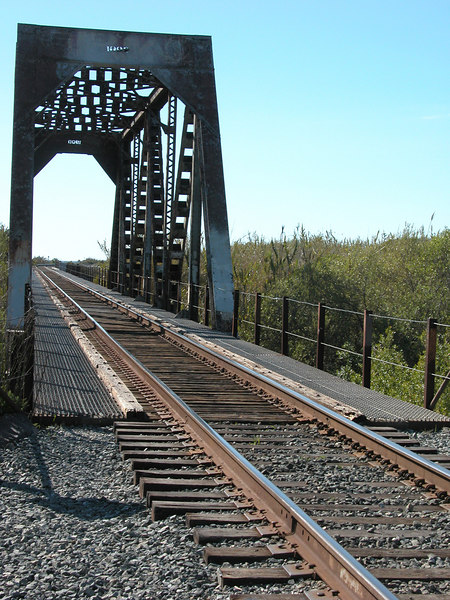 Train tracks between the beach and the RV park