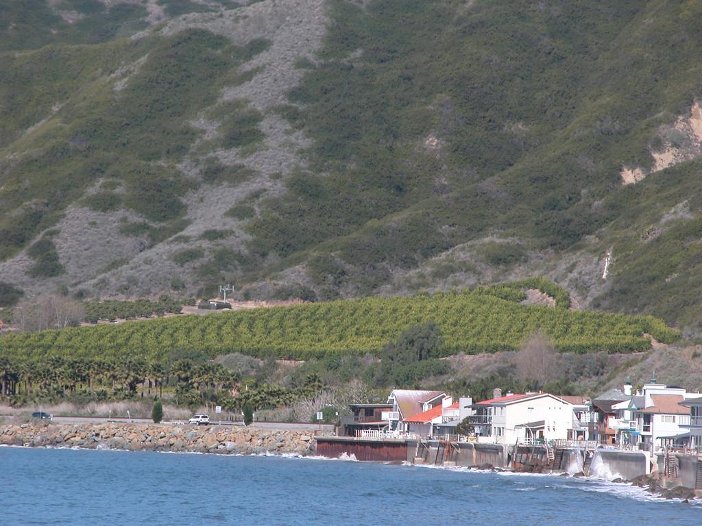 Ocean, houses and hillside in Ventura, CA