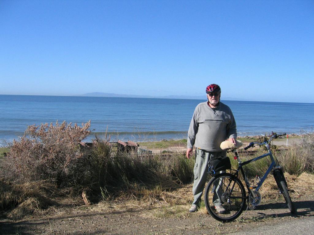 Mike biking along beach in Ventura, CA