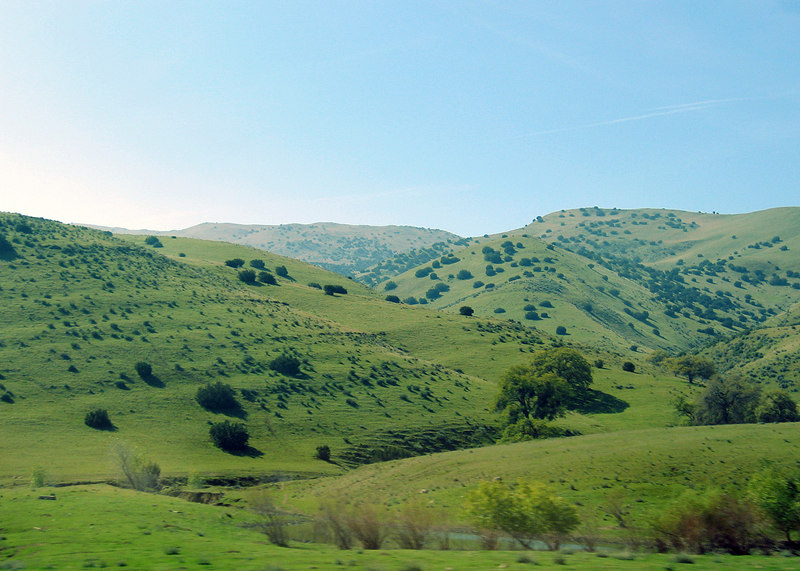 Hills along Route 46 heading east to Interstate 5