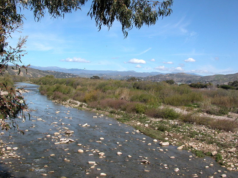 The Ventura River looking towards the mountains