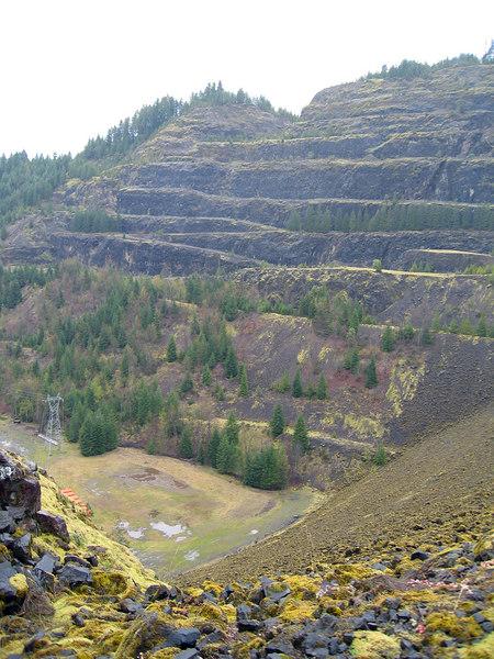 Cut hillside at Cougar Dam