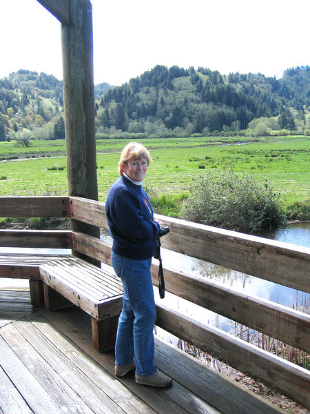 Susan at the Dean Creek Elk Viewing Area just outside of Reedsport , OR
