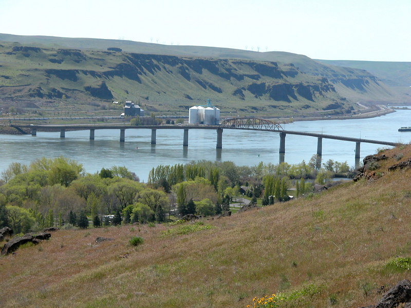 The Biggs Rapids Bridge and the Columbia River viewed from Washington