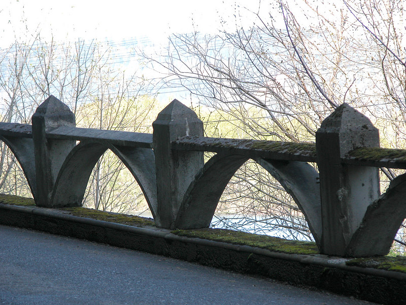 Old cement rails along the historic Columbia Gorge Highway