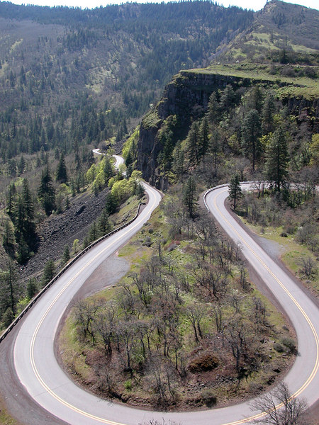 The historic Columbia Gorge Highway as seen from  Rowena Crest Overlook