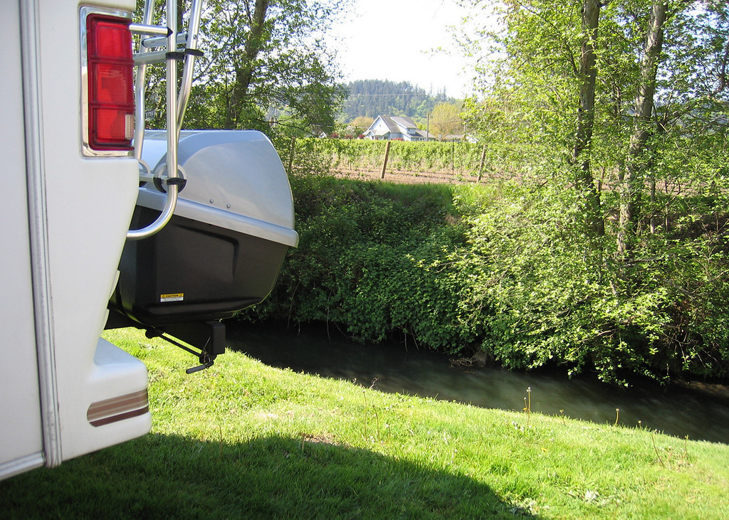 We are parked at Majestic Manor RV Park in Puyallup, WA and ar backed up to a little creek.  Across the creek is a berry patch.
