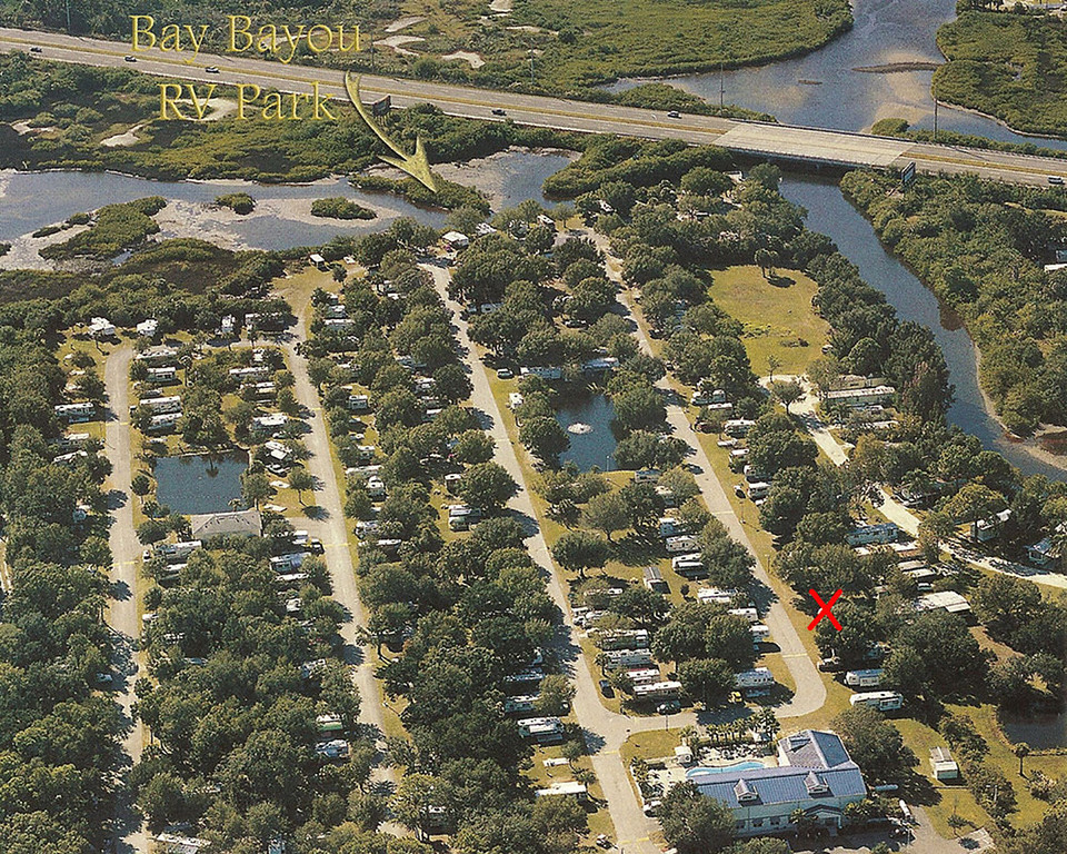Bay Bayou RV Park - The red X marks the spot where we stayed.