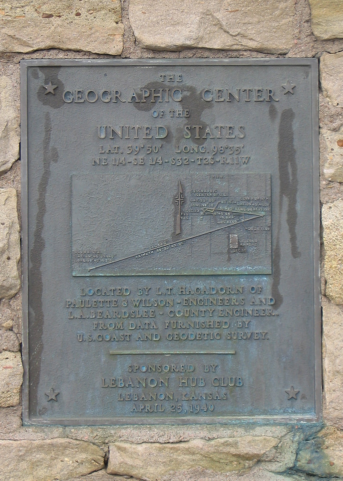 Plaque on monument at the center of the contiguous 48 in Lebanon, KS.