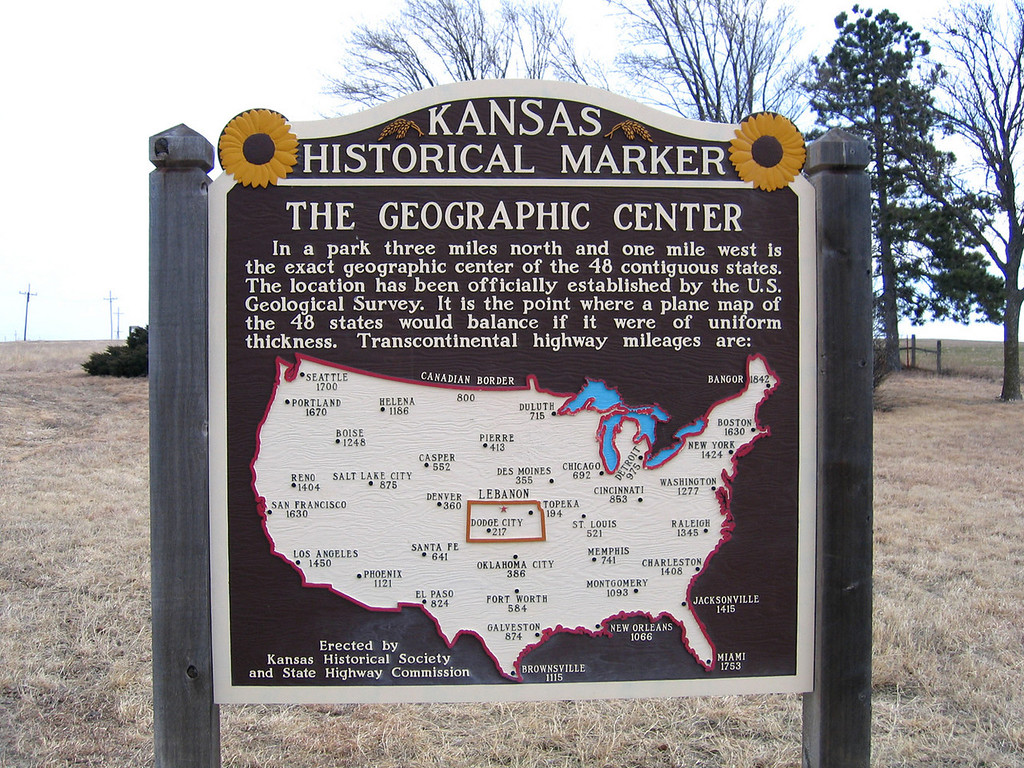 Historic Marker showing the georgraphic center of the contiguous 48.