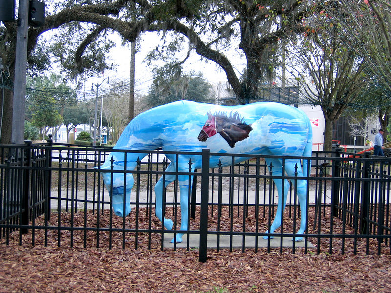 One of many painted horses at the Ocala Courthouse Square.