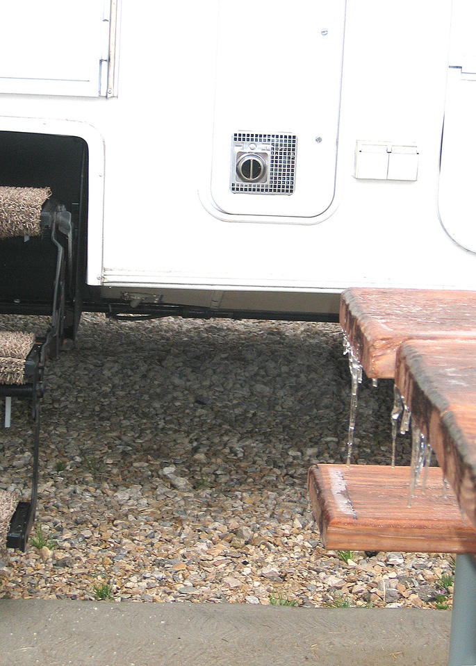 Ice on the table right outside the 5th wheel.