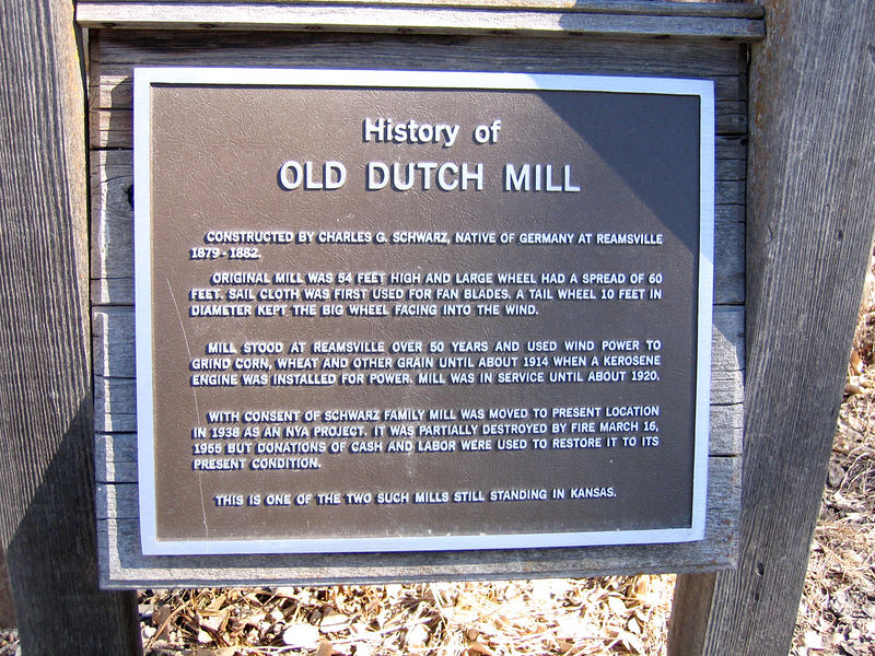 Sign telling history of the Old Dutch Mill.