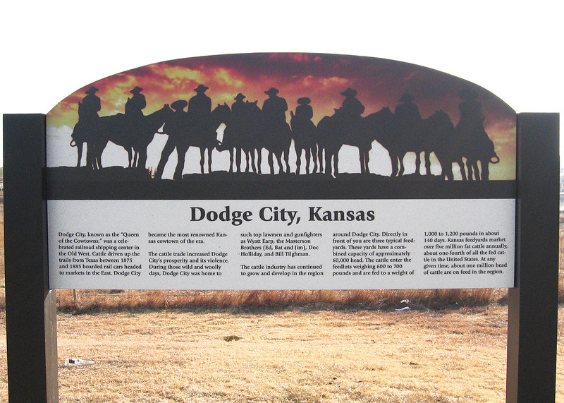 Informational sign about Dodge City along route 283