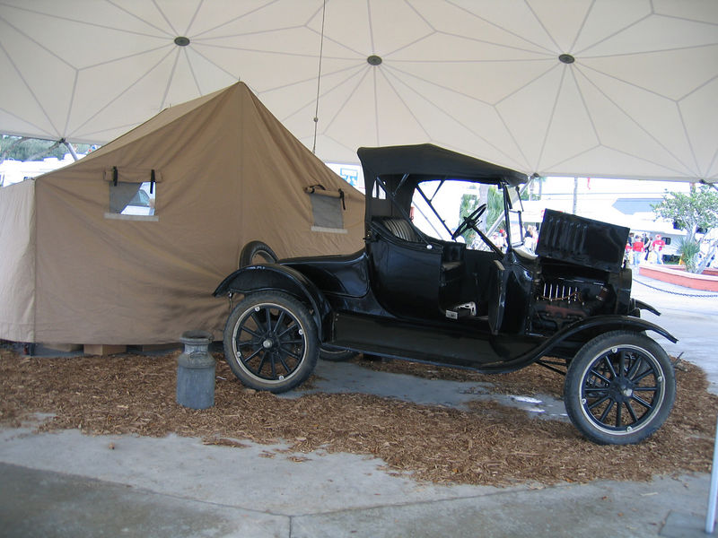 Tampa, Florida RV Show - This is a Model T with the tent trailer behind.