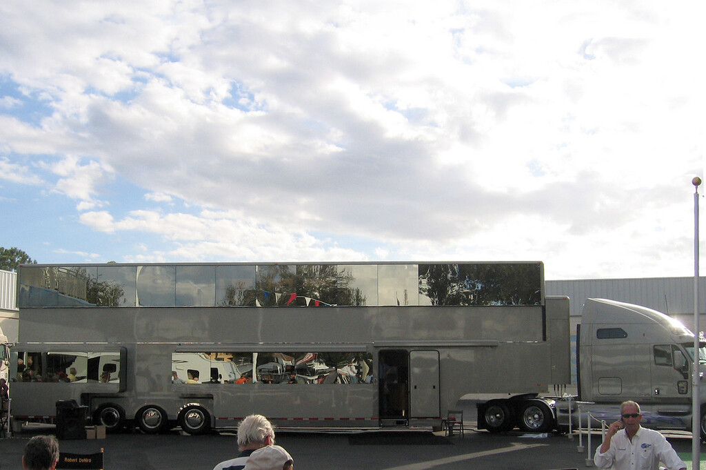 Tampa, Florida RV Show - Robert DeNiro's Star Coach.  This is two stories.  The top shiny part closes down over the grey part when being transported.