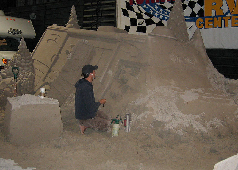 Tampa, Florida RV Show - This is a sand sculpture of an RV that is being made.